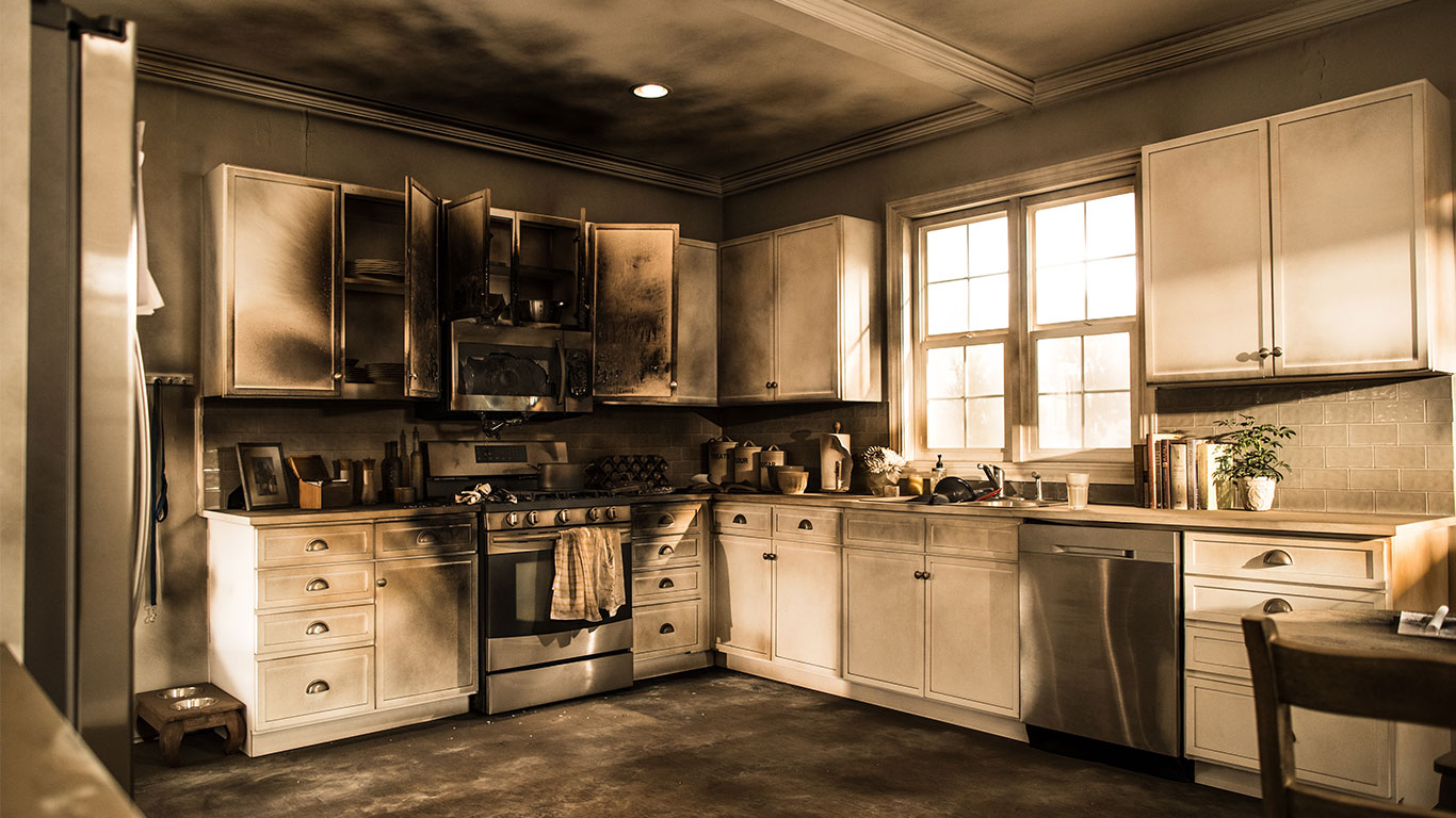 image of fire damaged kitchen