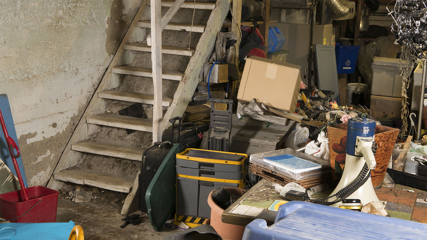 image of cluttered basement